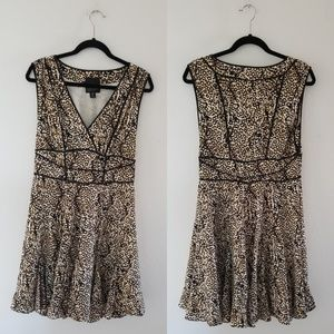 McGinn leopard sleveless fit flare dress size 10